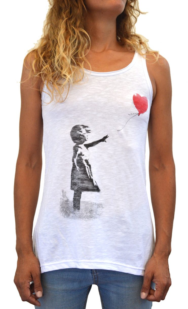Faces T-Shirt Donna Made in Italy Banksy Balloon Girl 2 Serigrafia Manuale